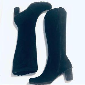 "BareTraps Black Gogo boots with 3"" block heel"